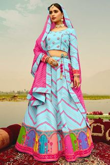 Picture of Sky Blue & Pink Colored Designer Silk Lehenga Choli