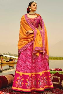 Picture of Pink & Yellow Colored Designer Silk Lehenga Choli