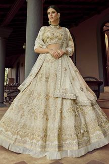 Picture of Gorgeous off-White Colored Party Wear Embroidered Lehenga Choli