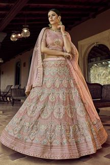 Picture of Ethnic Peach Colored Party Wear Embroidered Lehenga Choli