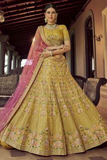 Picture of Blooming Mustard Colored Party Wear Embroidered Lehenga Choli