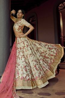 Picture of Adoring Off-White Colored Georgette Lehenga Choli