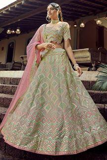 Picture of Ravishing Green Colored Organza Lehenga Choli