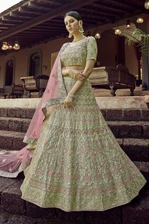 Picture of Beautiful Green Colored Georgette Lehenga Choli