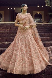Picture of Arresting Peach Colored Wedding Wear Embroidered Lehenga