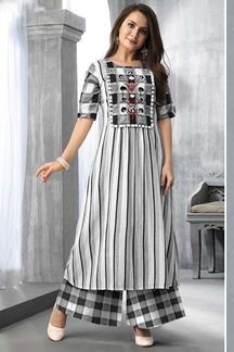 Picture of Black & White Colored Printed Kurti Set