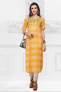 Picture of Amazing Yellow Colored Cotton Kurti