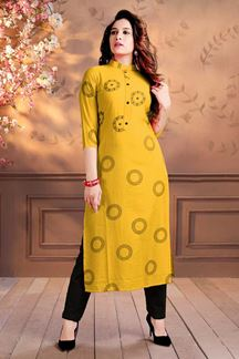 Picture of Yellow Colored Digital Print Kurti