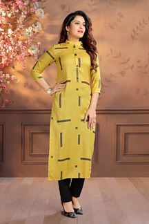 Picture of Digital Printed Yellow Colored Kurti