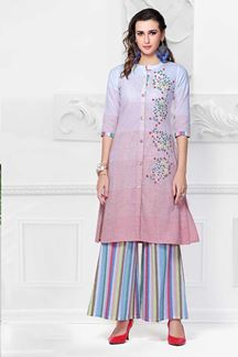 Picture of Printed Pink Coolored Palazzo Kurti Set