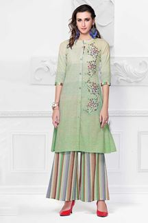 Picture of Printed Green Coolored Palazzo Kurti Set
