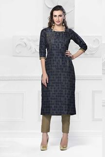 Picture of Glamorous Blue Colored Cotton Kurti