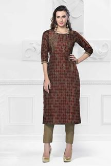 Picture of Glamorous Red Colored Cotton Kurti