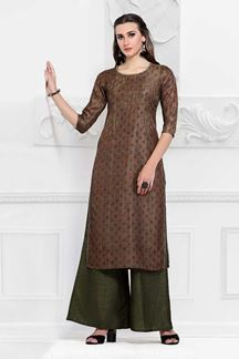 Picture of Casual Brown Colored Cotton Kurti