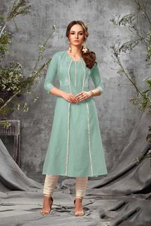 Picture of Jazzy Sea Green Colored Stylized Cotton Kurti
