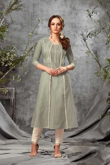 Picture of Jazzy Grey Colored Stylized Cotton Kurti