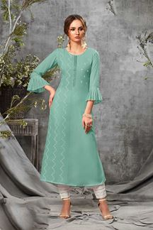 Picture of Rayon Cotton Partywear Sea Blue Colored Kurti
