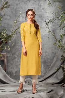 Picture of Rayon cotton Straight Cut Yellow Colored Kurti