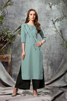 Picture of Blue Colored Adorable Cotton Straight Cut Kurti