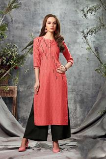 Picture of Red Colored Adorable Cotton Straight Cut Kurti