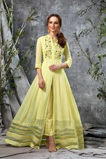 Picture of Pleasant Yellow Colored Partywear Kurti