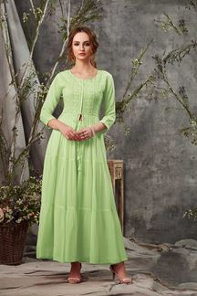 Picture of Dazzling Green Colored Partywear Kurti
