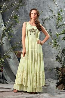 Picture of Lemon Yellow Colored Party Wear Long Kurti