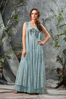 Picture of Blue Colored Party Wear Long Kurti