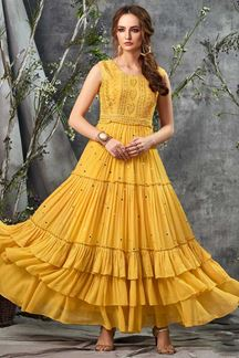 Picture of Trendy Yellow Colored Georgette Long Kurti