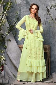 Picture of Georgette Yellow Colored Partywear Kurti