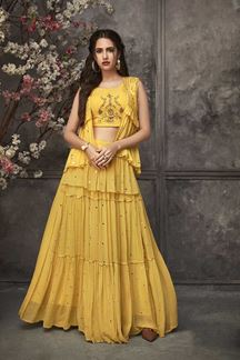 Picture of Crop Top Style Yellow Colored Kurti