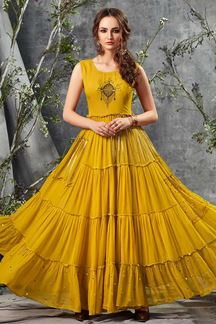 Picture of Glamorous Mustard Yellow Colored Partywear kurti
