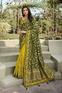 Picture of Mehendi Green & Yellow Colored Festive Wear Banarasi & Dola Silk Saree