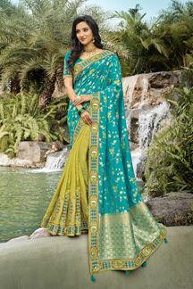 Picture of Sky blue & Parrot Green Colored Festive Wear Banarasi & Dola Silk Saree