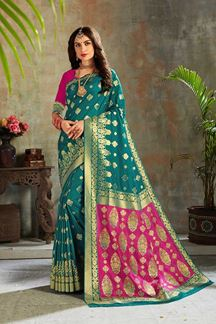 Picture of Teal Blue & Pink Colored Zari Weaving Silk Saree