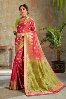 Picture of Pink & Green Colored Zari Weaving Silk Saree
