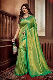 Picture of Green Colored Festive Wear Weaving Silk Saree