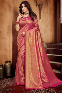 Picture of Pink Colored Festive Wear Weaving Silk Saree