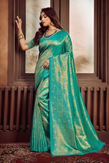 Picture of Teal Blue Colored Festive Wear Weaving Silk Saree
