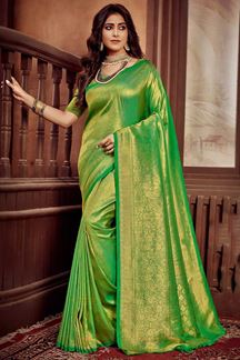 Picture of Parrot Green Colored Festive Wear Weaving Silk Saree