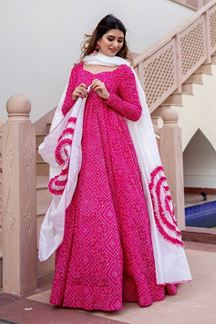 Picture of Partywear Designer Pink Color Kurti With Dupatta