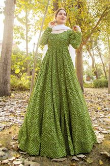 Picture of Partywear Designer Printed Green Colored Kurti With Dupatta