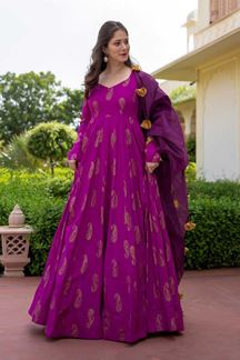 Picture of Partywear Designer Purple Colored Kurti With Dupatta