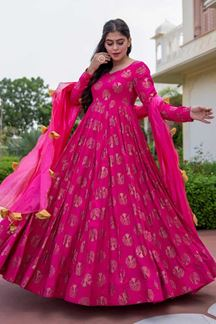 Picture of Partywear Designer Pink Colored Kurti With Dupatta