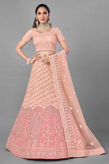 Picture of Elegance Peach Colored Net Designer Lehenga Choli