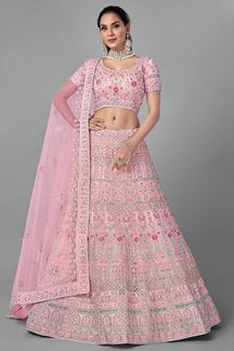 Picture of Sensible Pink Colored Designer Net Lehenga Choli