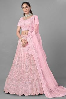 Picture of Captivating Pink Colored Designer Net Lehenga Choli