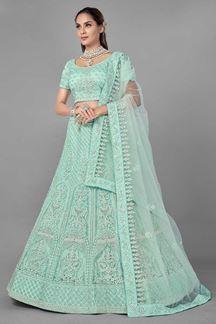 Picture of Stylish Sea Green Colored Designer Net lehenga Choli