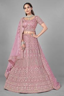 Picture of Glamorous Pink Colored Designer Net Lehenga Choli
