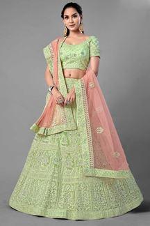 Picture of Timeless Beauty WithPisat Green Colored Designer Net Lehenga Choli